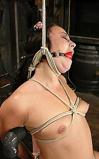 Hanged and ball gagged woman