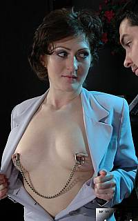 MILF secretary wearing nipple clamps