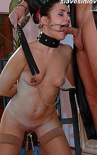 BDSM cocksucker with nipple clamps
