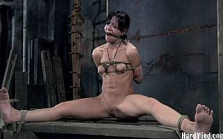 Gagged girl spreaded and strangled