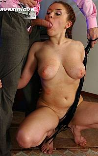 Submissive girl aloowed to blow her master
