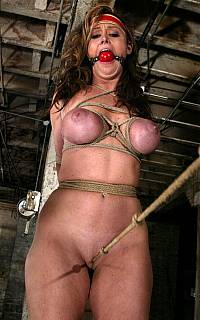 Ball gagged MILF got her pussy tortured