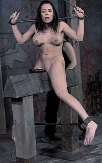 Girl BDSM torture with wooden pony