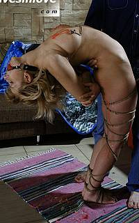 Ball gagged slavegirl is of flexible type