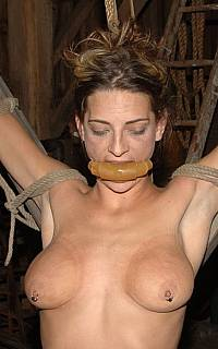 Gagged and exposed in bondage