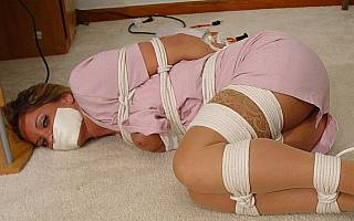 Office lady is helplessly bound gagged