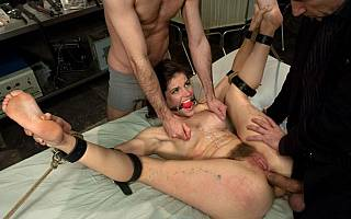 Bound gagged anal sex