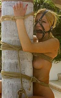Outdoor bound gagged slave
