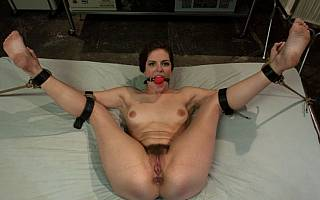 Naked frog tie for bound gagged woman