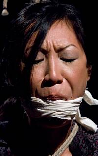 Pretty face of cleave gagged asian