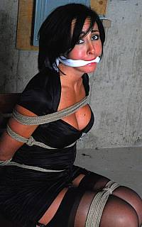 Scarf gagged bondage girl in really helpless