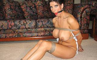 Adorable mature bondage slave