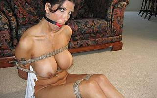 Tied, ball gagged and stripped