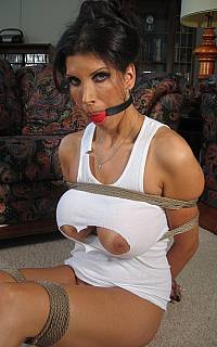 Sexy cougar tied and ball gagged
