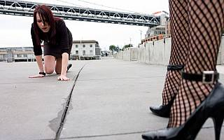 Patgirl crawling an all fours