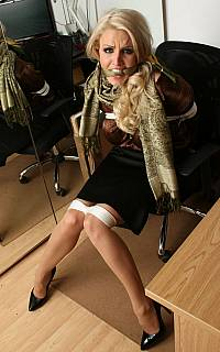 Blonde cleave gagged secretary with hot legs