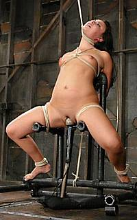 Bondage slave fucked with dildo