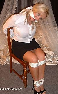 Hot secretary scarf gagged