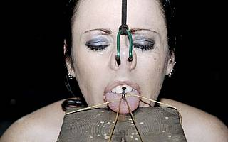 BDSM tongue piercing and nose hook pain