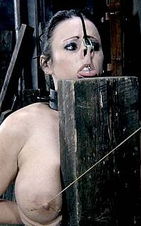 Nude handcuffed girl nipple torture