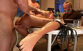 Guy has to watch his wife in bondage fucked (Sep 2011)