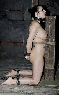Woman put on her knees and handcuffed naked