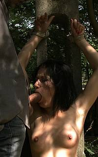 Girl tied to tree and forced to blow a cock (Sep 2011)