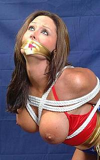 Bound and gagged Wonder Woman superhero