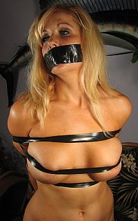 Busty cougar tape gagged
