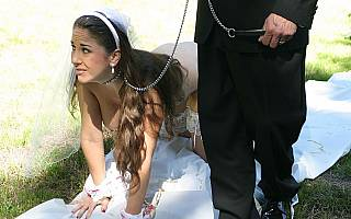 Petgirl wife is leashed and walked on all fours