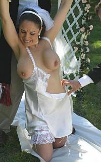 Ripping down the dress of a petgirl wife