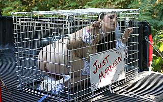 Submissive wife is locked in a dog cage