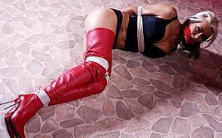 High heel boots for cleave gagged girl