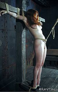 Crotchrope torture for crucified slave (May 2012)