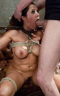 Bondage girl forced to swallow cum