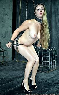 Helpless slave is keeping her balance