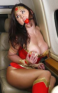 Photo of Wonder Woman ball gagged