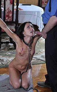 Chained wife is ready to blow