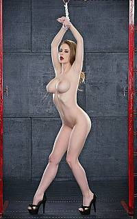 Emily Addison is nude and bound