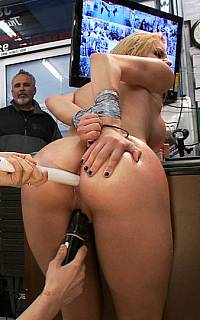 Tied girl is fucked with two sticks (Sep 2012)