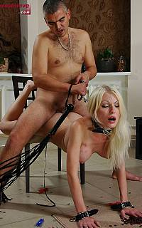 Bondage wife is used as a pony to ride on (Oct 2012)