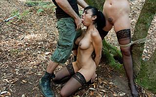 Two tied girls are fucked against their will