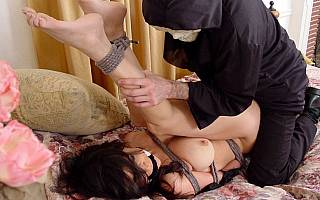 Housewife is out in bondage and fucked by force