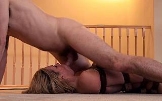 Bondage wife is throated by an intruder