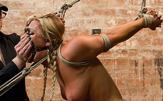 Cameron Dee is put in rope bondage