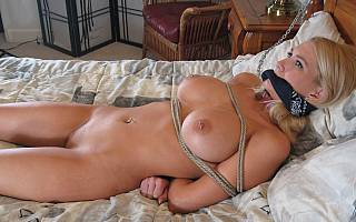 Bondage woman in her bed (Sep 2013)
