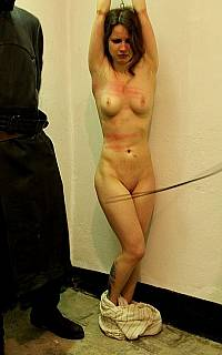 Stripped and stretched woman