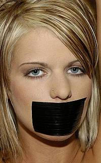 Gal is gagged with black duct tape (Sep 2013)