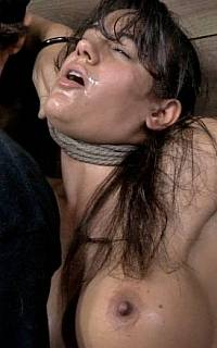 Bitch is strangled with the rope noose