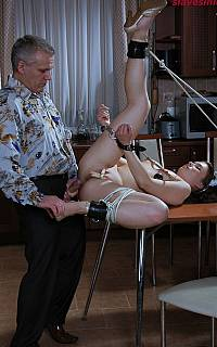Maid is fucked in bondage for being lazy (Dec 2013)